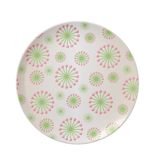 Pink & Green Abstract Flowers Plate
