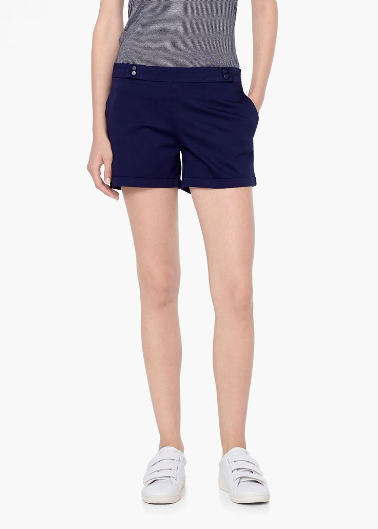 Bermude din bumbac cu nasturi - Pantaloni pentru Femei   MANGO
