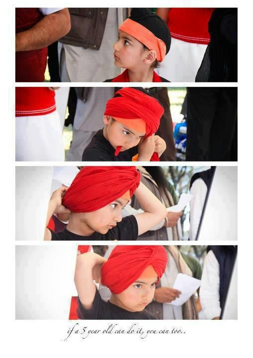 sikh boy learning how to put a turban on . | Sikhpoint.com