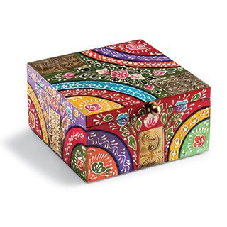 HANDPAINTED WOOD The mountains and deserts of Central Asia have always provided inspiration for amazing colourful crafts and intricate detail. These hand painted mango wood chests, boxes and accessories, with a design reminiscent of the bazaars of the silk route are beautifully hand painted with great detail. Made by one of our regular suppliers from India on a fair trade basis. HAND MADE IN INDIA £15 from Melbury Gallery xx