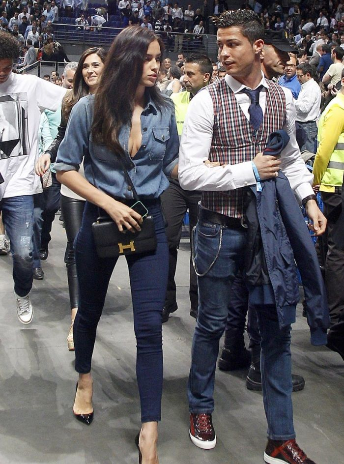 Irina Shayk and Christiano Ronaldo in Denim - http://denimology.com/2014/03/irina-shayk-christiano-ronaldo-denim