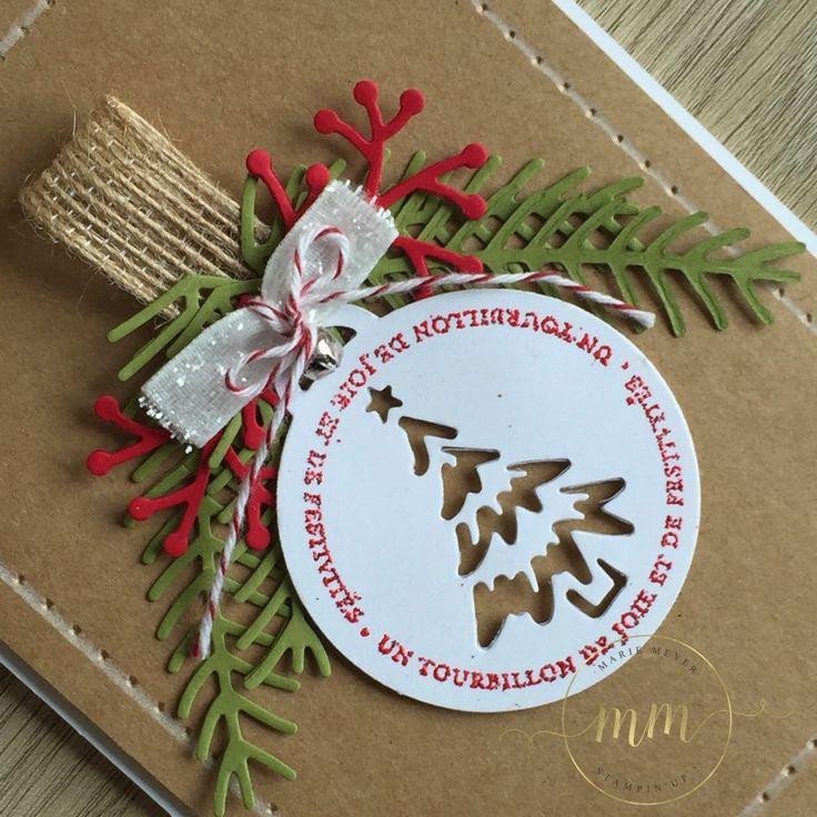 Cartes de Noël avec le framelits Joyeuses Etiquettes et Thinlits Branches et pommes de pin par Marie Meyer Stampin up - http://ateliers-scrapbooking.fr/                                                                                                                                                                                 More