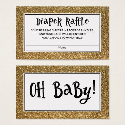 Faux Gold Glitter Baby Shower Diaper Raffle Cards - baby gifts child new born gift idea diy cyo special unique design