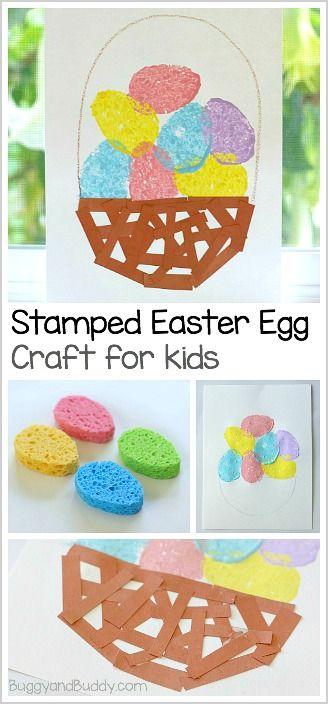 Easy Easter Craft for Preschool and Kindergarten: Stamped Easter Eggs and Paper Basket ~ BuggyandBuddy.com
