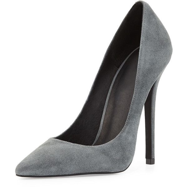 Jeffrey Campbell Darling Suede Pump Dark Gray (190 BRL) ❤ liked on Polyvore featuring shoes, pumps, heels, high heels, sapatos, high heel court shoes, jeffrey campbell pumps, pointed toe pumps, pointed toe shoes and dark grey pumps