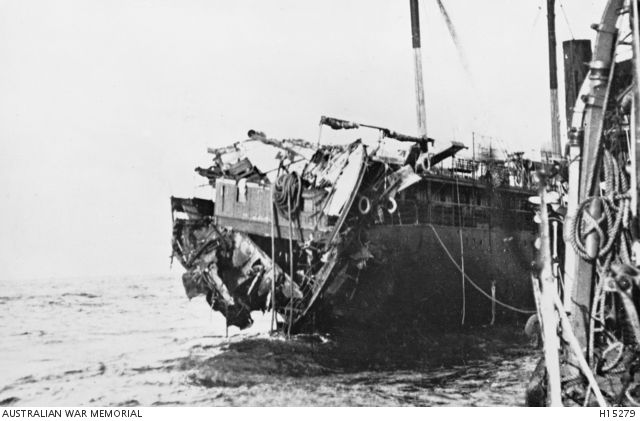WWI. Ionian Sea. 16 November 1917. The torpedoed stern of the Italian transport ship Orione as seen from TBD HMAS Parramatta. Several Allied ships in the area assisted in rescuing troops from the Orione including those thrown into the sea. Donor Cpt A G Bond