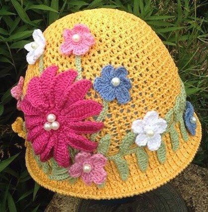 A personal favourite from my Etsy shop https://www.etsy.com/uk/listing/205386901/crochet-summer-hat-girl-hat-handmade-hat