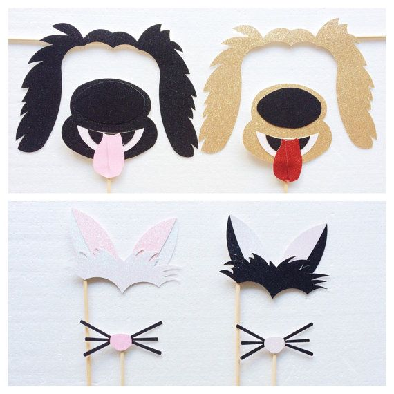 Dog and Cat Photo Booth Props ; Animal Birthday Party Props ; Kids Photobooth Party Props by Let's Get Decorative on Etsy