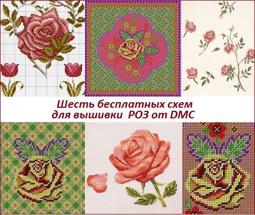Вышитые цветы: шесть бесплатных схем для вышивки роз от DMC