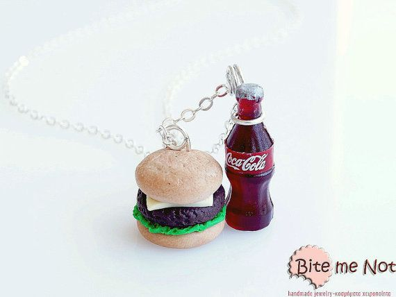 Cheeseburger and Cola Necklace Mini Food Jewelry  by BiteMeNot