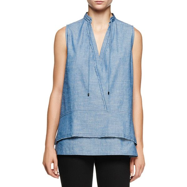 Proenza Schouler Sleeveless Double-Hem Chambray Tunic ($275) ❤ liked on Polyvore featuring tops, tunics, chambray blue, yoke top, blue sleeveless top, proenza schouler top, sleeveless tops and relaxed fit tops