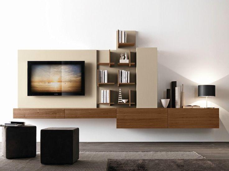 Módulo de arrumação de parede secional de nogueira com suporte para TV CF49 Coleção Modus by Presotto Industrie Mobili | design Pierangelo Sciuto
