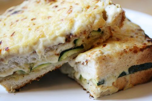 Vegetarian Croque Mademoiselle (technically a Croque Monsieur...with zucchini! Remember to spread the mustard onto the bread before toasting it on the skillet. And I would substitute the Emmentaler for Gruyère or Comté).