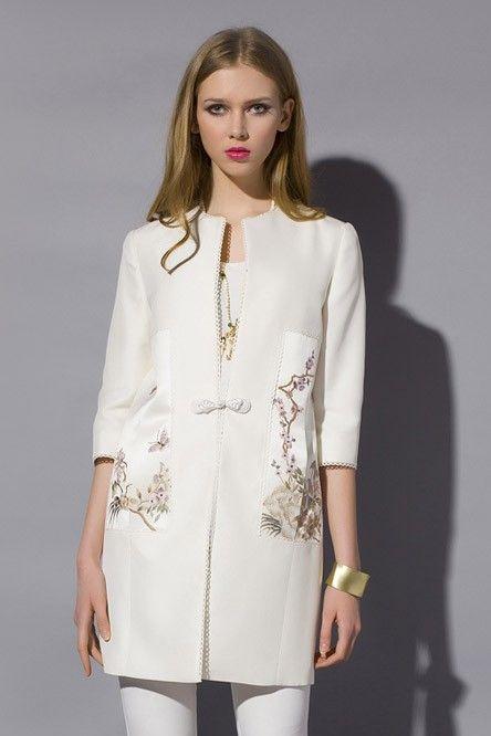 Advanced customization, ladies. Chinese original, high-end, silk, Slim, overcoats. Medium length coat