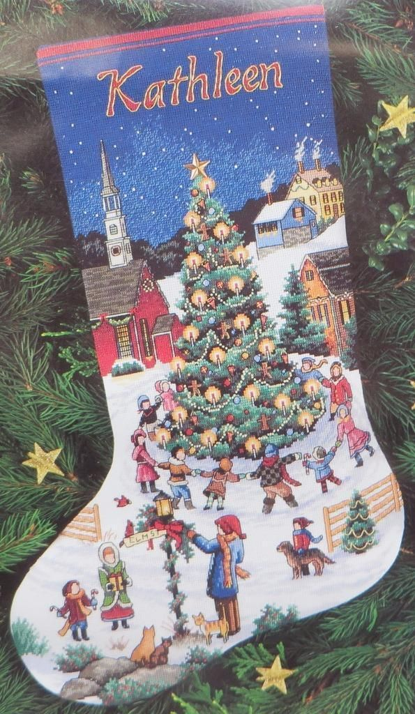 """Dimensions Gold Collection Christmas Cheer Stocking Cross Stitch 16"""" 1999 Kit 