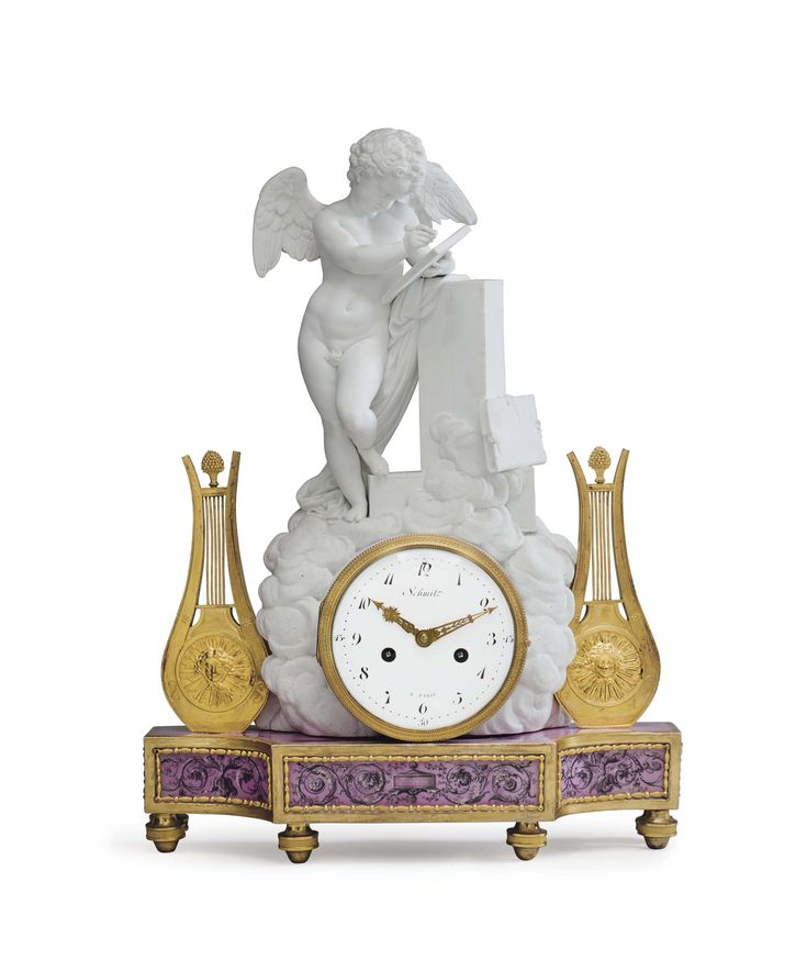c1780 A LOUIS XVI ORMOLU-MOUNTED BISCUIT AND GLAZED PORCELAIN MANTEL CLOCK  THE CASE BY GUERHARD & DIHL, THE MOVEMENT BY JEAN-NICOLAS SCHMIT, CIRCA 1780 Price realised  USD 15,000