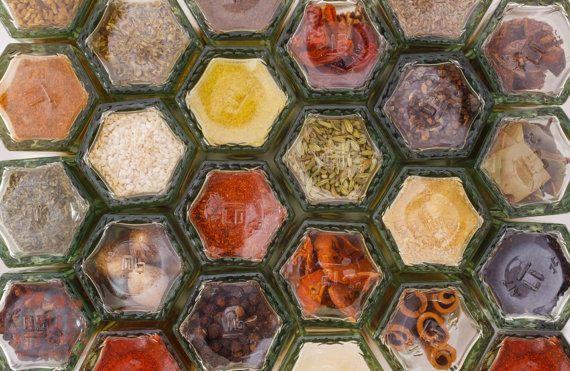 Tarros de la especia magnético | Regalos gourmet | Conjunto de especias | Especias frescas | Estante de especias | Organizador de cocina | Galardonado de especias | Regalos de cocina