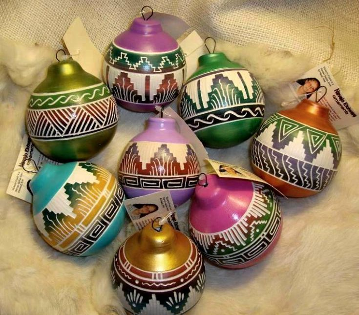 Colorful Southwest Navajo Etchware Christmas Ornament (RPNCETCH) - Colorfully hand painted and hand etched...