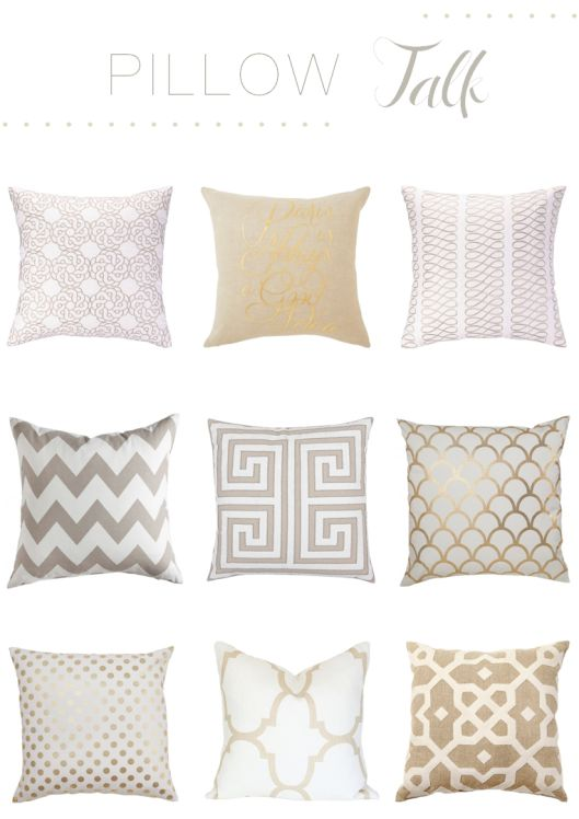 These cream and gold geometric pillows would be great on a colorful couch.