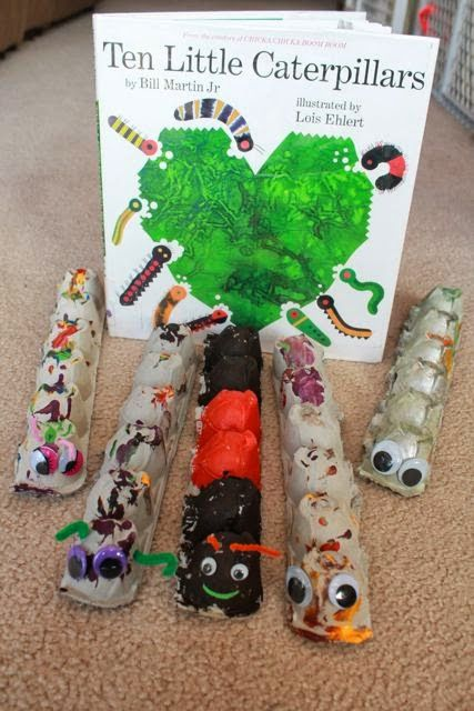 Egg Carton Caterpillas for TEN LITTLE CATERPILLARS by Bill Martin Jr. and Lois Ehlert.