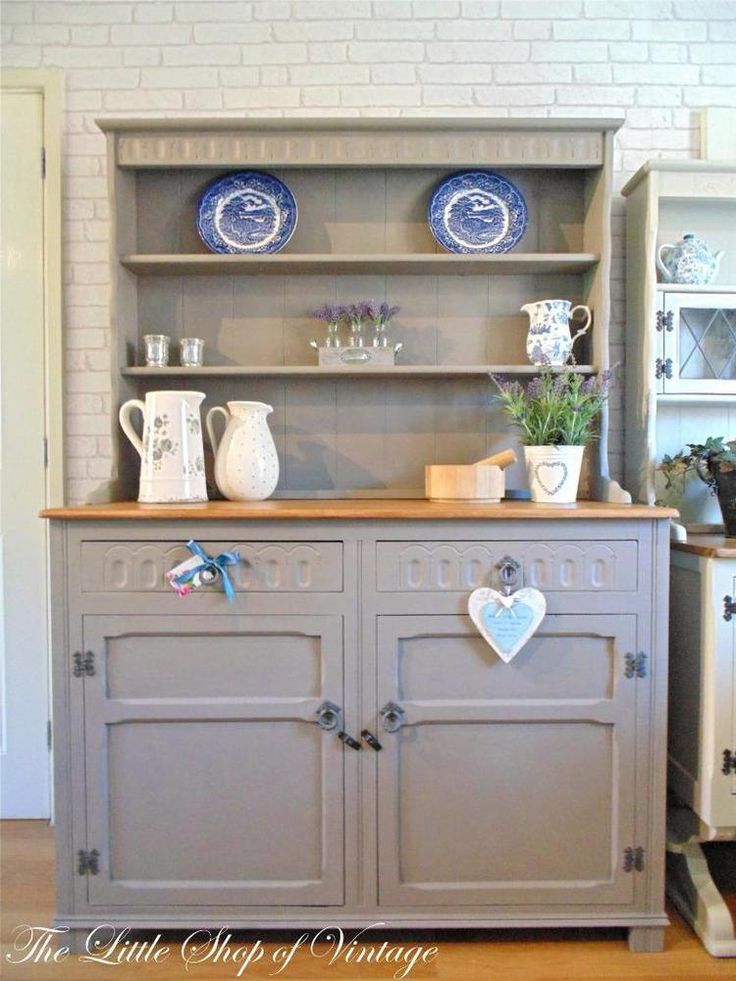 Beautiful Welsh Dresser Sideboard Cupboard Cabinet Shabby Chic Annie Sloan Grey In Home Furniture