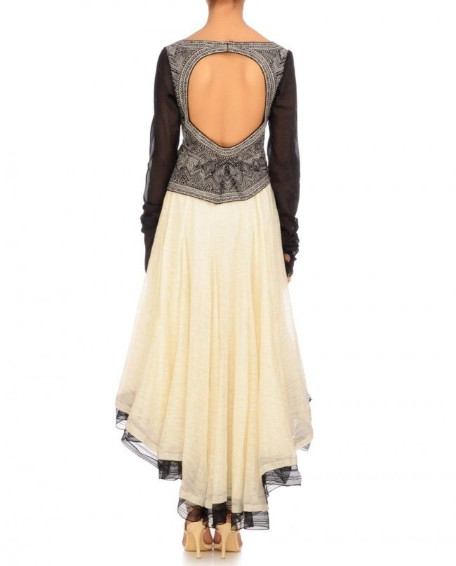 Ivory & Black Abstract Art Anarkali- Buy Ready-to-Wear,Kurta Set Online | Tarun Tahiliani Tarun Tahiliani