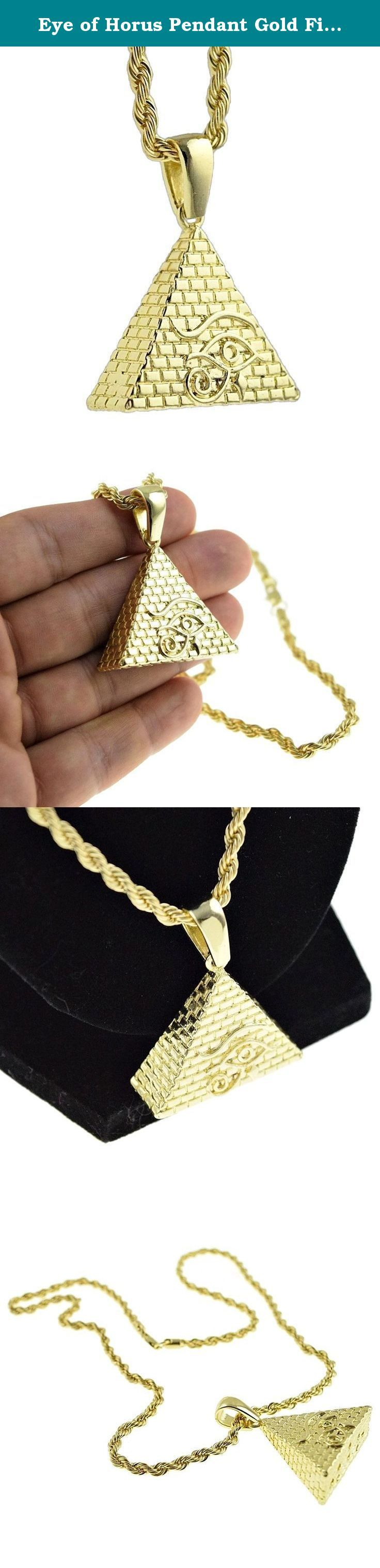 """Eye of Horus Pendant Gold Finish Egyptian Pyramid Charm 24 Inch Rope Chain Hip Hop Necklace. Express your bold style with this Pyramid charm , 24"""" rope chain pendant. Gorgeous gold finish over high quality metal, for a Eye of Horus Pyramid chain that is a real show stopper."""