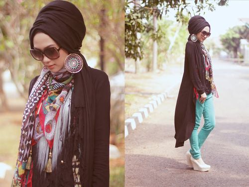 ♡ this hijabi friendly turban. Play around with a black outfit, with a colourful scarf wrapped around your chest. #hijabifashion