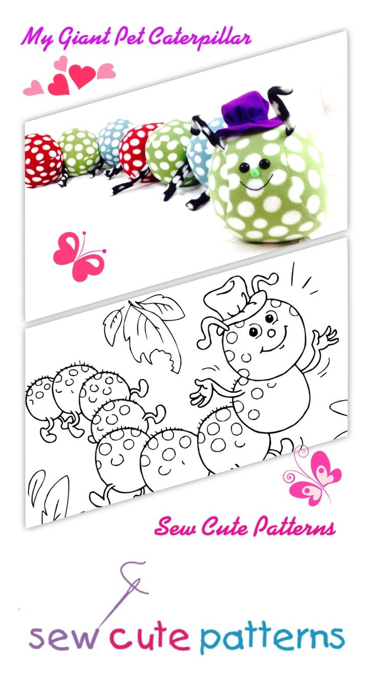 """Caterpillar pattern includes a fun bedtime story for kids!  Read the story of My Giant Pet Caterpillar and then make your own plush pet!  Patterns are available to make a small 4"""" x 41"""" version or giant 7"""" x 64"""" version!  Both make adorable kids room decor or handmade gifts for both girls and boys.  Patterns are available for instant PDF download so you can start sewing immediately."""