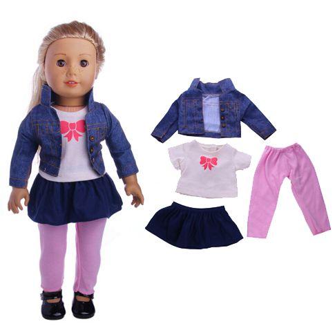 pas cher poup e v tements jeans manteau set fit 18 pouce american girl vestes gilet legging. Black Bedroom Furniture Sets. Home Design Ideas