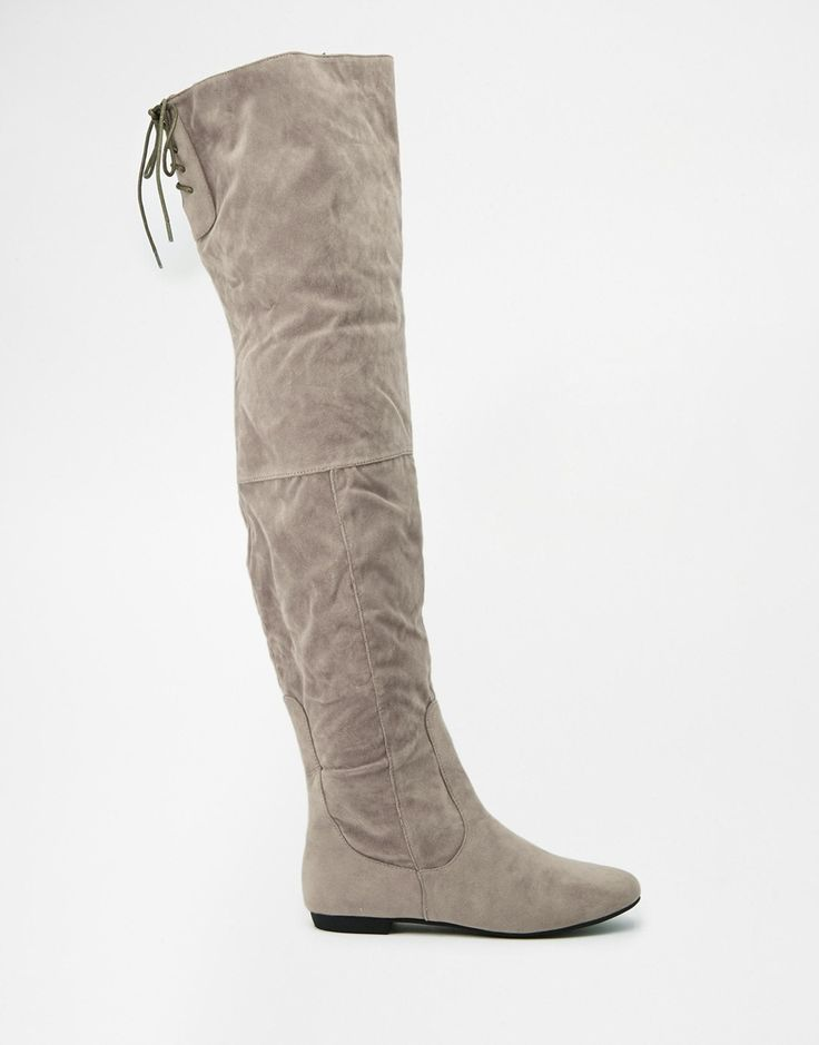 Bild 2 von Daisy Street – Flache Overknee-Stiefel mit Schnürung hinten in Grau