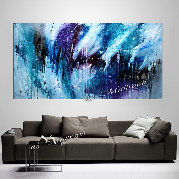 "ON SALE - 72"" large Abstract art, Teal painting hang behind couch, original paintings handsigned oversized Artwork"