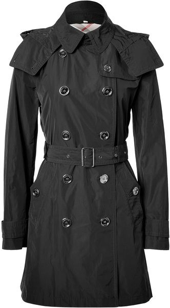 burberry raincoat with hood | Burberry Brit Black Doublebreasted Balmoral Trench Coat with Hood in ...