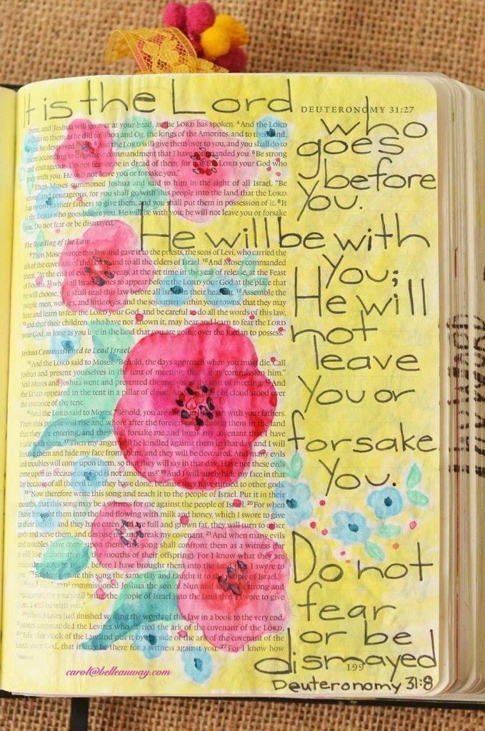 Deuteronomy 31:8, May 24, 2016, carol@belleauway.com, watercolor, Illustrated Faith pen, bible art journaling, bible journaling, illustrated faith