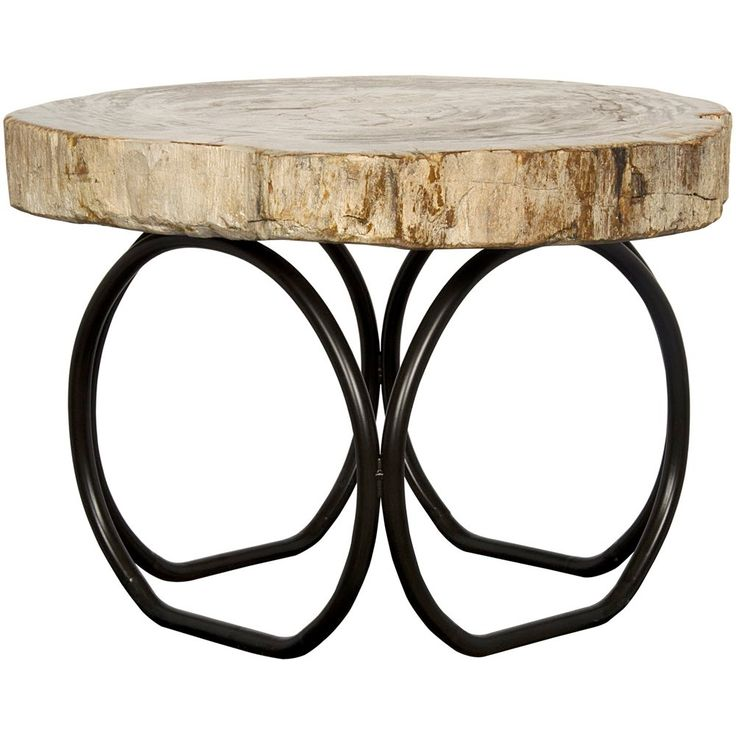Noir 4 circle table metal and petrified foss ai59f in