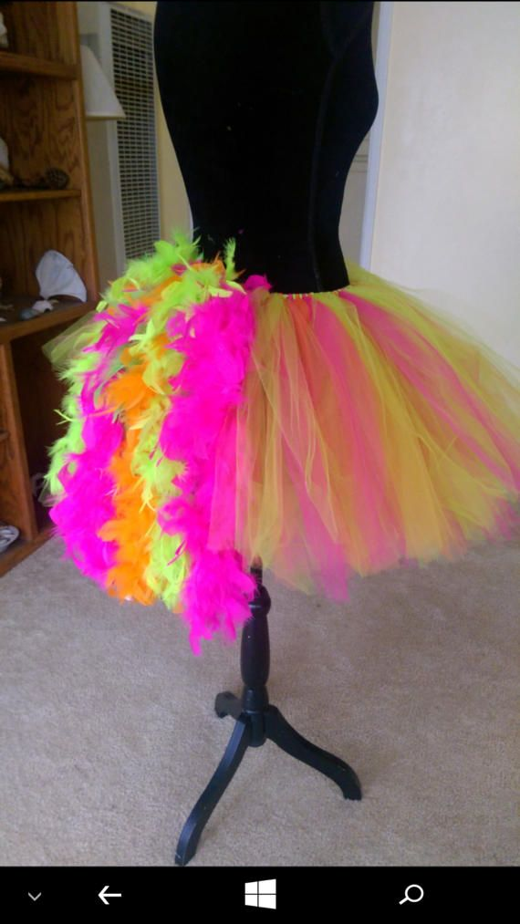 Neon Blacklight Tutu Tulle Skirt With Reactive Feathers In Rear Edc Raver
