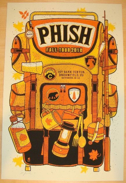 "Phish - silkscreen concert poster (click image for more detail) Artist: Methane Studios Venue: First Bank Center Location: Broomfield, CO Concert Date: 10/10-12/2010 Size: 16"" x 24"" Edition: Artist Pr"