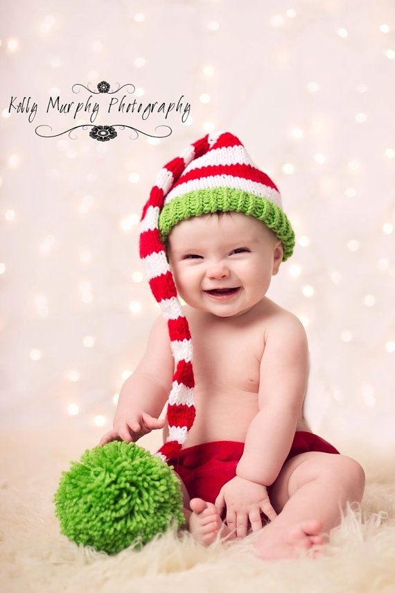Christmas Knit Santa Little helper Elf stripes by earlybird1210, $29.99