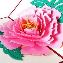 3D Pop Up Wenskaarten Pioen Verjaardag Valentijn Moederdag Kerst goede kwaliteit(China (Mainland))
