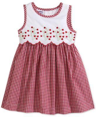 Blueberi Boulevard Baby Girls' Red and White Check Sleeveless Dress