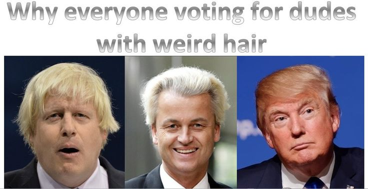 """Why everyone voting for dudes with weird hair #Brexit #Trump #EU #referendum #Johnson #Wilders #UK #USElection"""