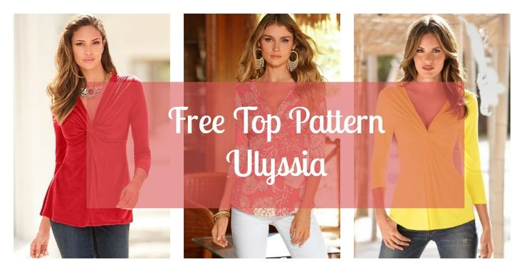 The Ulyssia Free Top Pattern is a nice knot baby doll style top designed for stretch fabrics and is available in European Sizes 40-52 (US Sizes 8 - 20)