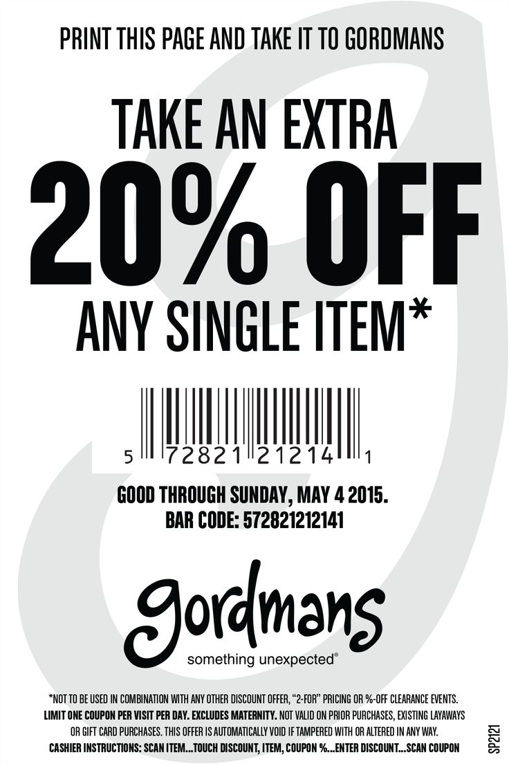 Pinned March 27th: 20% off a single item at Gordmans #coupon via The #Coupons App