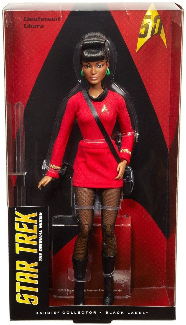 """Calling all Star Trek fans! Sculpted in the likeness of the original actor, Nichelle Nichols, the doll comes with """"communicator"""" in one hand and includes a tricorder with shoulder strap. The Uhura doll also features an authentic replication of the classic costume and fully articulated body. 
