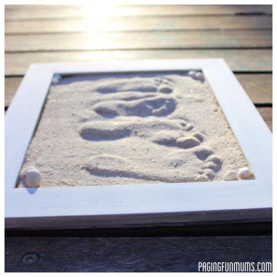 DIY footrprints in sand using sand and plaster.