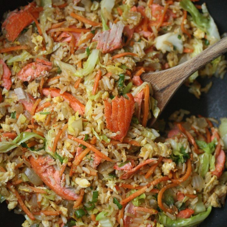Salmon Fried Rice with Carrots and Cabbage | Food & Wine