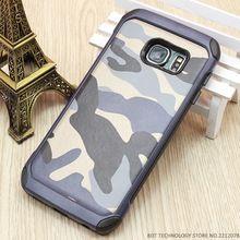 Camo de moda Caja Del Teléfono Para Samsung Galaxy S6 S7 Borde Camuflaje Estilo Híbrido TPU Duro de la Cubierta De Plástico Protector de la Armadura