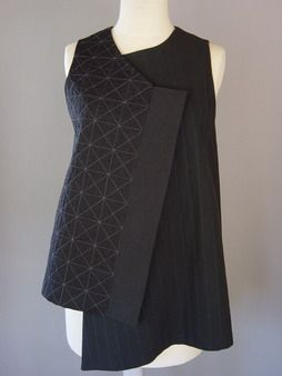 Wrapped Shoulder Vest in Black, PIn Striped and Pyramid Shape, Juanita Girardin