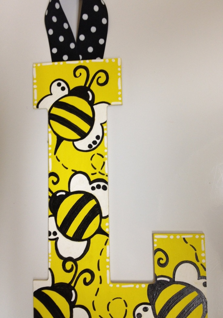 Nursery Painted Letters Yellow and Black Bumble Bee Baby Girl or Boy Polka Dot Ribbon. $15.00, via Etsy.