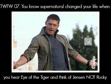 YES!!!!!!!!!!!!!!!!!!!!!!!!!!!!!!!!!!!!!!!!!!!!!!!!! THIS HAPPENS TO ME!!!!!!!!!!!!!!!!!!! Whenever I hear eye of the tiger, I IMMEDIATELY think of Jensen!!!!!! It's true!!!!!!!!!!! :D :D :D